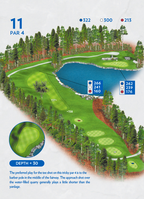 A map of hole 11 at the Lakemont Course