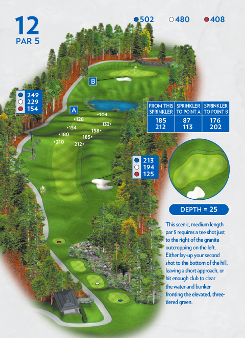 A map of hole 12 at the Lakemont Course