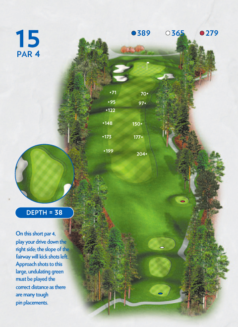 A map of hole 15 at the Lakemont Course