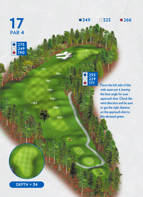 A map of hole 17 at the Lakemont Course