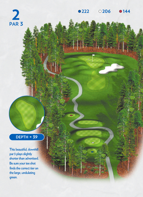 A map of hole at 3 the Lakemont Course