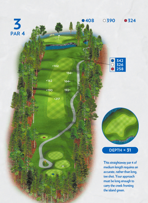 A map of hole 3 at the Lakemont Course