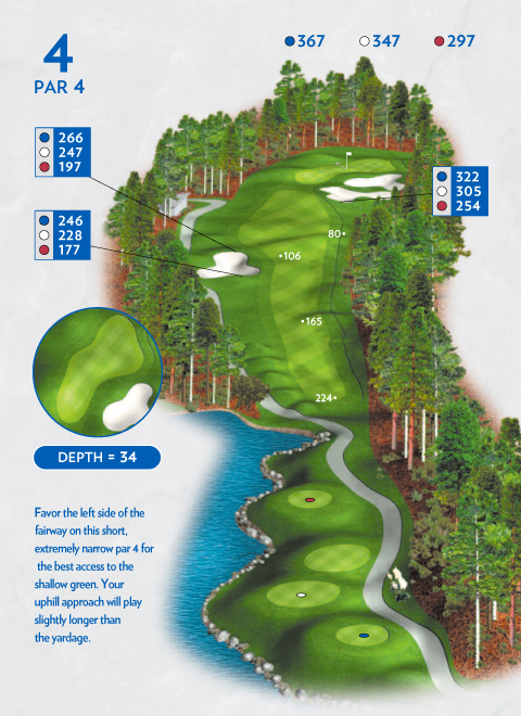 A map of hole 4 at the Lakemont Course