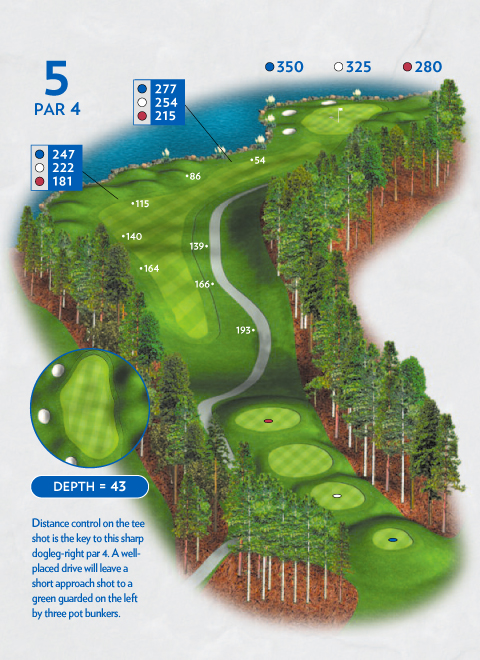 A map of hole 5 at the Lakemont Course