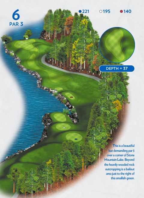 A map of hole 6 at the Lakemont Course